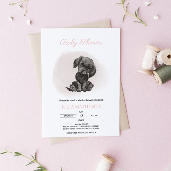 Watercolor Labrador Retriever Dog Baby Shower Invitation - Editable Template - 5 x 7 - Card - Editable Invitation Templett - Download