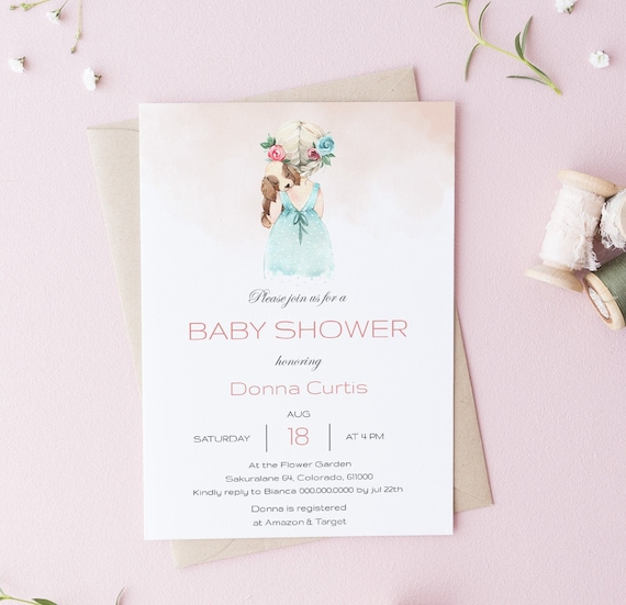 Watercolor Flower Girl with her Puppy Baby Shower Invitation - Editable Template - 5 x 7 - Card - Editable Invitation Templett - Download