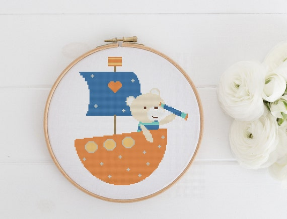 Bear Boat - Playful Animal Chart Cross Stitch Pattern - Modern Cross Stitch - Childrens Decor Nursery - Instant Download -