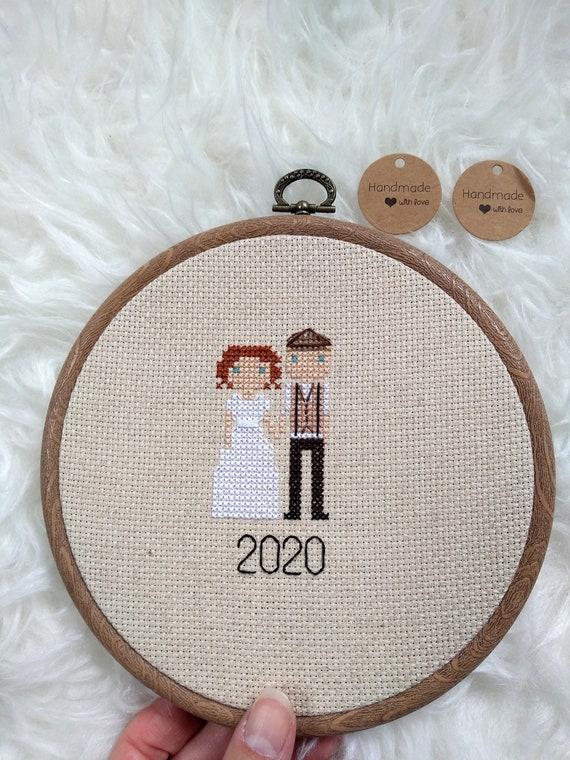 Custom Family Portrait - Cross Stitch - Personalised Portrait Anniversary Wedding Holiday Gift