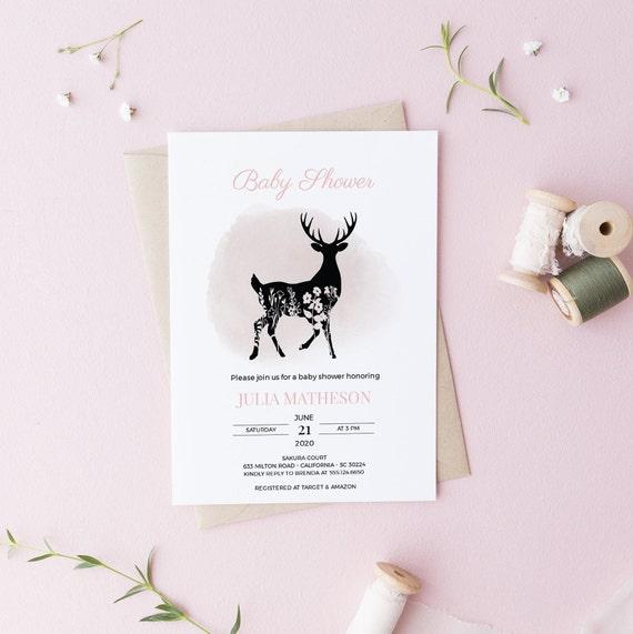Deer Flowers Baby Shower Invitation - Editable Template - 5 x 7 - Card - Editable Invitation Templett - Download DIY