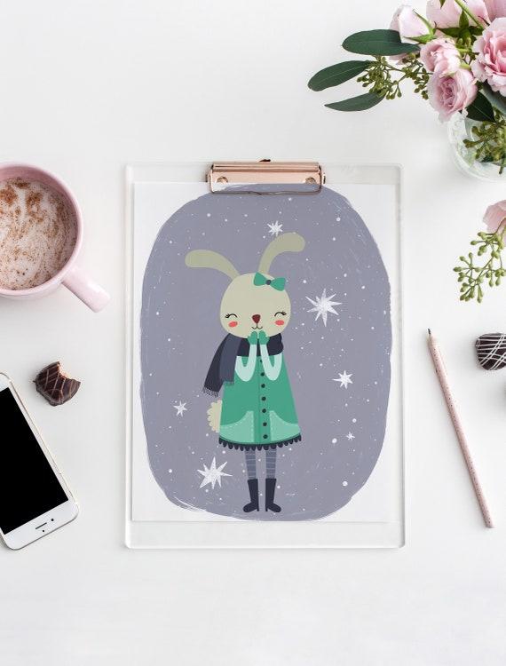 8 x 10 Winter Bunny Stars Watercolor Print- Boho Nursery Decor Print Wall Art Baby Kids Room Printable Decor - DIGITAL DOWNLOAD