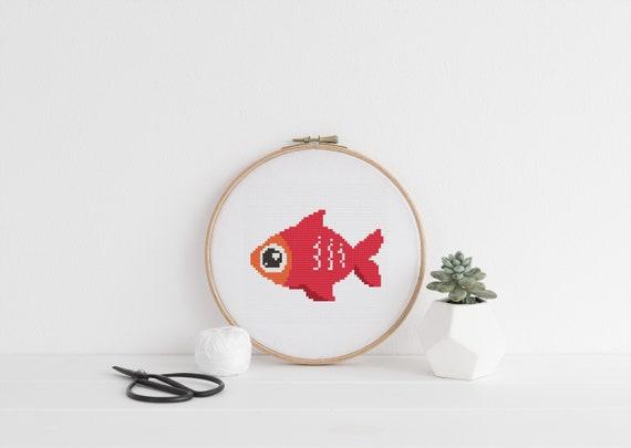 Red Fish Sea Animal Pattern - Cross Stitch Pattern - Modern Cross Stitch - Childrens Decor Nursery - Instant Download