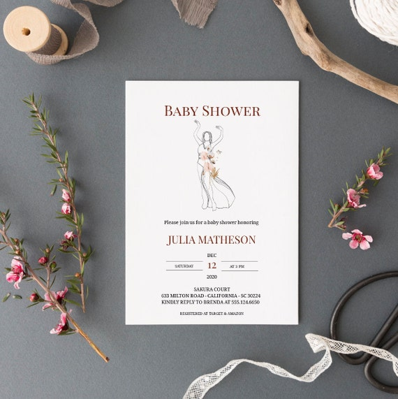 Modern Abstract Art Dancing Woman Baby Shower Invitation - Editable Template - 5 x 7 - Card - Editable Invitation Templett - Download DIY