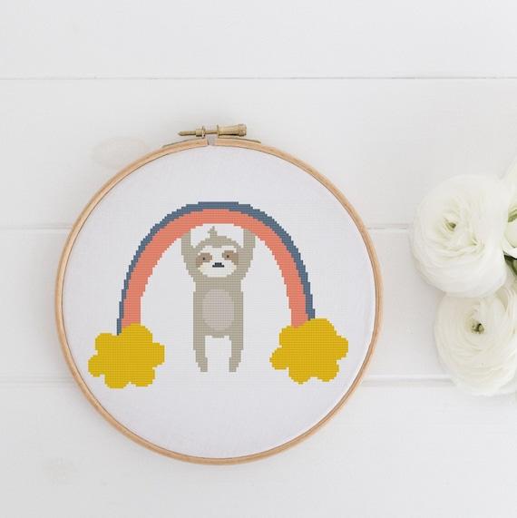 Rainbow Hanging Sloth - Modern Boho Chart Cross Stitch Pattern - Modern Cross Stitch - Childrens Decor Nursery - Instant Download -
