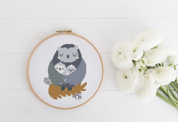 Goodnight Owl Baby Owls Pattern - Cross Stitch Pattern - Modern Cross Stitch - Childrens Decor Nursery - Instant Download