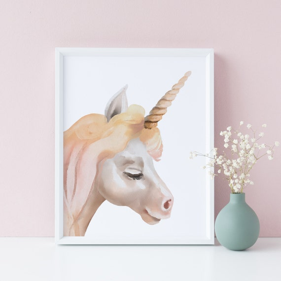 8 x 10 inch Unicorn - Nursery Print - Watercolor Baby Kids Room - Nursery Decor Art - DIGITAL DOWNLOAD
