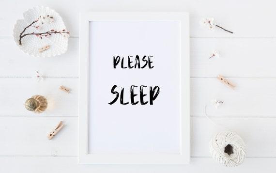 8 x 10 Please Sleep - Minimalism Black and White Print- Nursery Decor Wall Art Baby Girl - Boy Room Printable Decor - DIGITAL DOWNLOAD