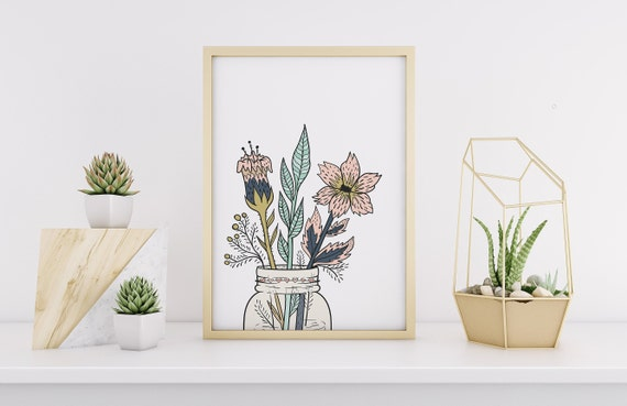 8 x 10 Flower Jar Botanical Floral Print- Home Decor Wall Art - DIGITAL DOWNLOAD