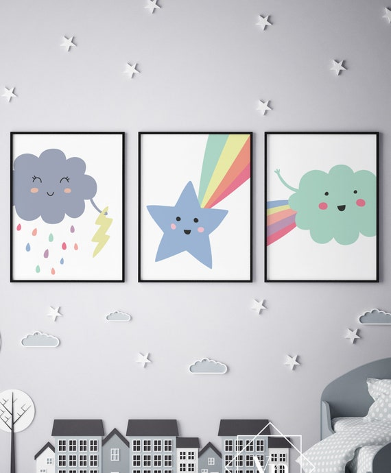 Weather - Cloud Thunder Rain Shooting Star Print Set - Nursery Print Wall Art Home Decor Baby Kids Room Printable - DIGITAL DOWNLOAD