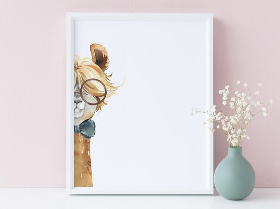 8 x 10 Llama with Glasses Peekaboo Watercolor Animal Print- Nursery Decor, Kids Room Baby Wall Art Decor - DIGITAL DOWNLOAD