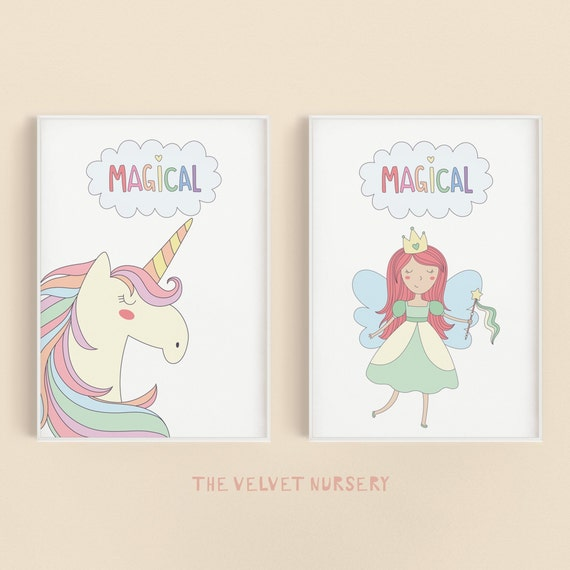 Magical Fairy & Unicorn Set - Boho Nursery Print Wall Art Home Decor Baby Girl - Boy Room Printable - DIGITAL DOWNLOAD