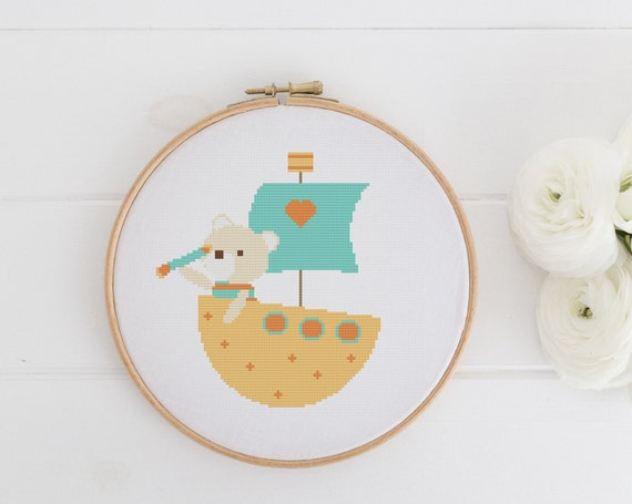 Bear Boat Golden - Playful Animal Chart Cross Stitch Pattern - Modern Cross Stitch - Childrens Decor Nursery - Instant Download -