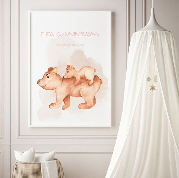 Custom Name Bear Mama & Baby Watercolor Art Baby Nursery Print - DIGITAL FILE - JPEG - Baby Shower Gift - Nursery Room Decor Poster