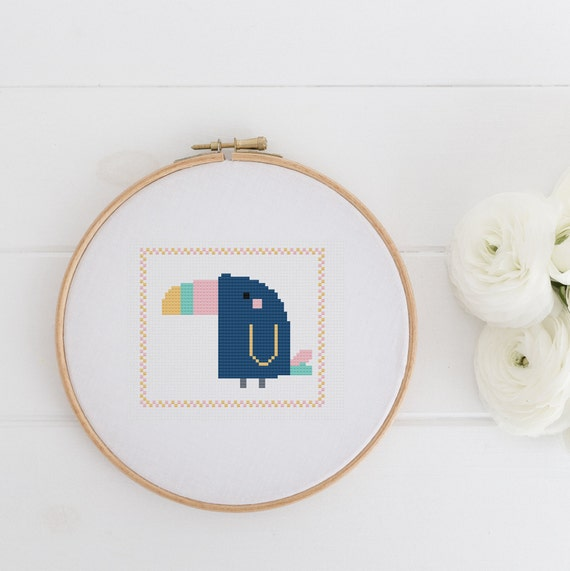 Toucan - Tropical Bird Blue - Playful Chart Cross Stitch Pattern - Modern Cross Stitch - Childrens Decor Nursery - Instant Download