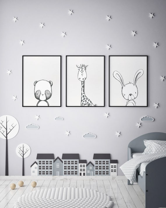 8 x 10 Bunny, Giraffe and Bear Peekaboo Set - Boho Nursery Decor Print Wall Art Watercolor Baby Girl Room Printable Decor