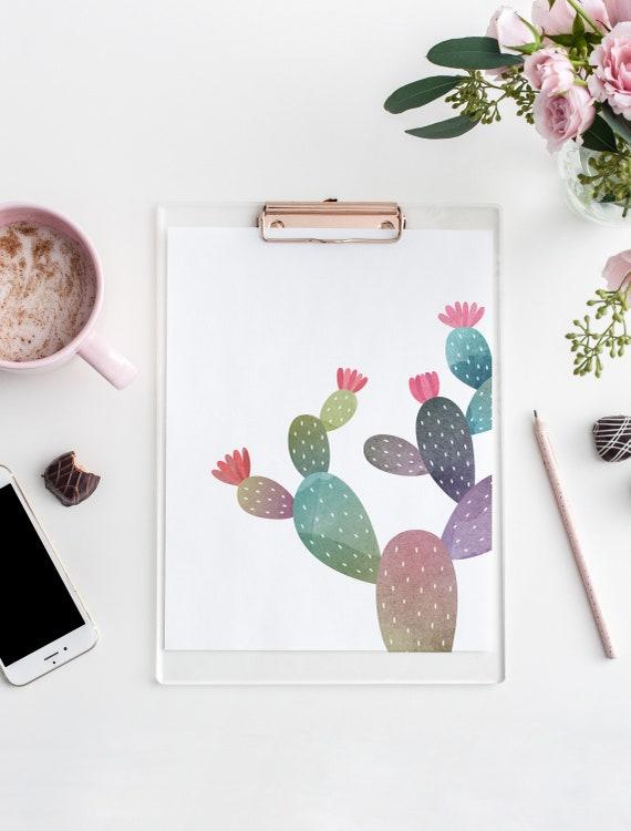 8 x 10 Cactus Watercolor Print- Boho Nursery Decor Print Wall Art Baby Kids Room Printable Decor - DIGITAL DOWNLOAD
