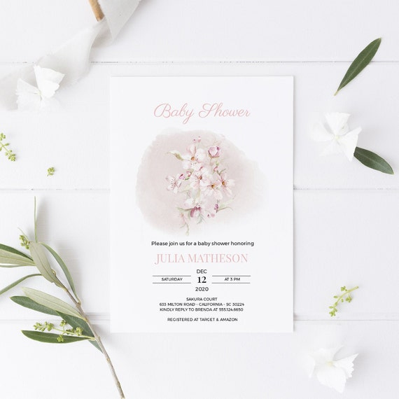 Flower Bouquet Florals Pink Baby Shower Invitation - Editable Template - 5 x 7 - Card - Editable Invitation Templett - Download DIY