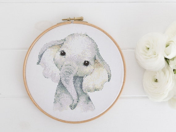 Watercolor Elephant Chart - Cross Stitch Pattern - Modern Cross Stitch - Childrens Decor Nursery - Instant Download -