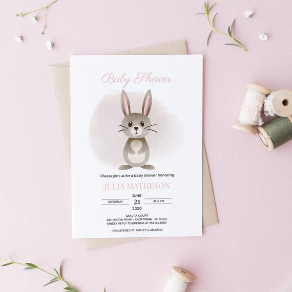Watercolor Bunny Rabbit Baby Shower Invitation - Editable Template - 5 x 7 - Card - Editable Invitation Templett - Download DIY