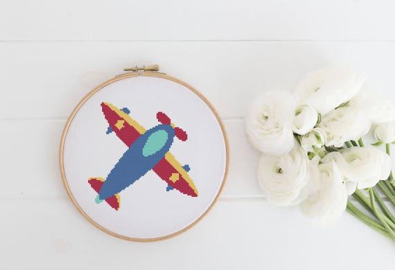 Plane - Cross Stitch Pattern - Modern Cross Stitch - Instant Download