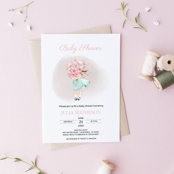 Watercolor Girl With Flowers Baby Shower Invitation - Editable Template - 5 x 7 - Card - Editable Invitation Templett - Download - DIY