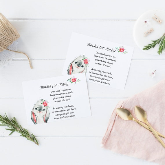 Books for Baby - Bunny Flowers Watercolor - Editable Template - 5 x 3.5 inch - Card Watercolor - Edit Yourself Download - Jpeg & PDF options