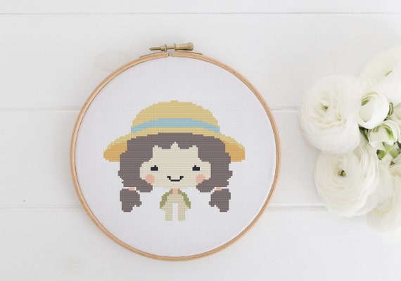 Farm Girl - Cross Stitch Pattern - Modern Cross Stitch - Childrens Decor Nursery - Instant Download -