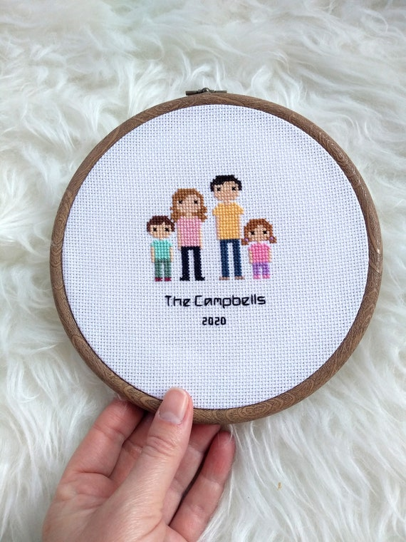 Custom Family Portrait - Cross Stitch - Personalised Portrait Anniversary Wedding Holiday Gift