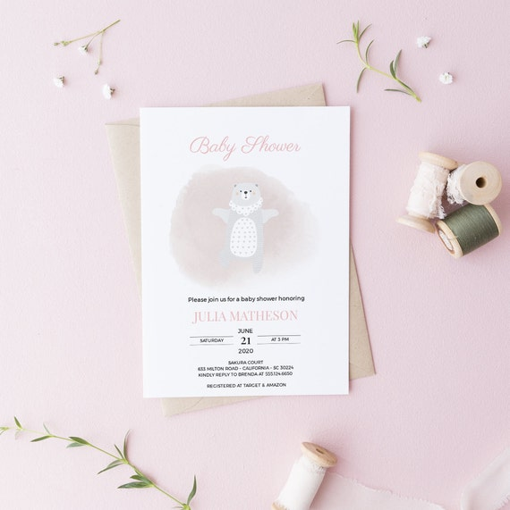 Dancing Bear Pink Watercolor Baby Shower Invitation - Editable Template - 5 x 7 - Card - Editable Invitation Templett - Download DIY