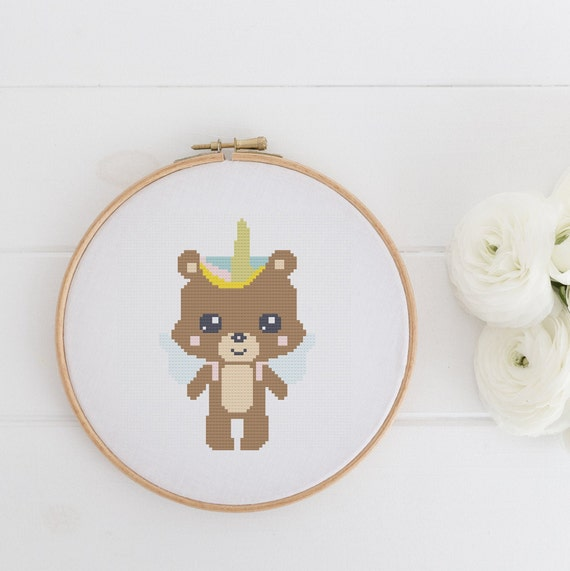 Unicorn Bear Playful Child Project Chart Cross Stitch Pattern - Modern Cross Stitch - Childrens Decor Nursery - Instant Download
