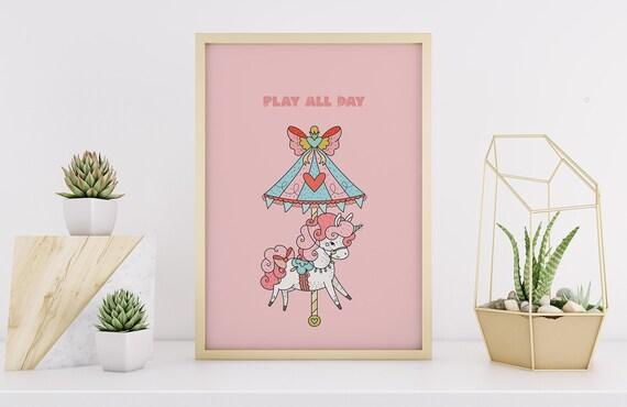 Play All Day Unicorn Carousel Pink Print - Nursery Home Decor Wall Art Baby Girl - Boy Room - DIGITAL DOWNLOAD