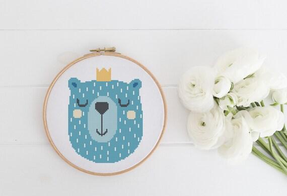 Bear Portrait Easy Beginner Pattern - Cross Stitch Pattern - Modern Cross Stitch - Childrens Decor Nursery - Instant Download