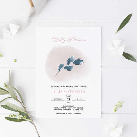 Modern Botanical Blue Leaf Baby Shower Invitation - Editable Template - 5 x 7 - Card - Editable Invitation Templett - Download - DIY