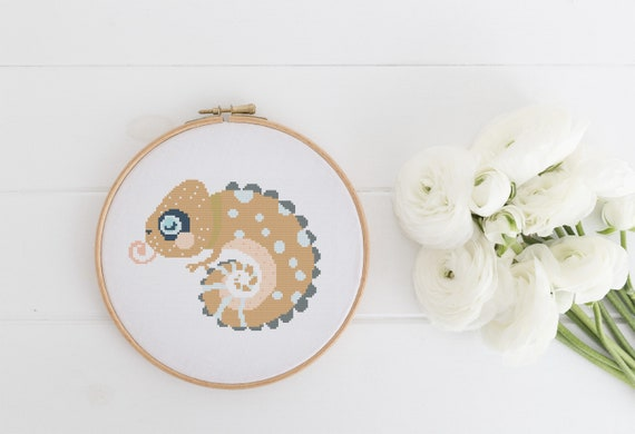 Chameleon Pattern - Cross Stitch Pattern - Modern Cross Stitch - Childrens Decor Nursery - Instant Download