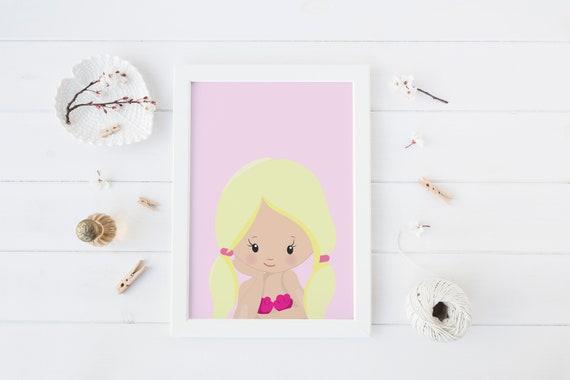 8 x 10 inch Blond Hair Girl Print- Nursery Decor Print Wall Art Baby Girl - Boy Room Printable Decor - DIGITAL DOWNLOAD