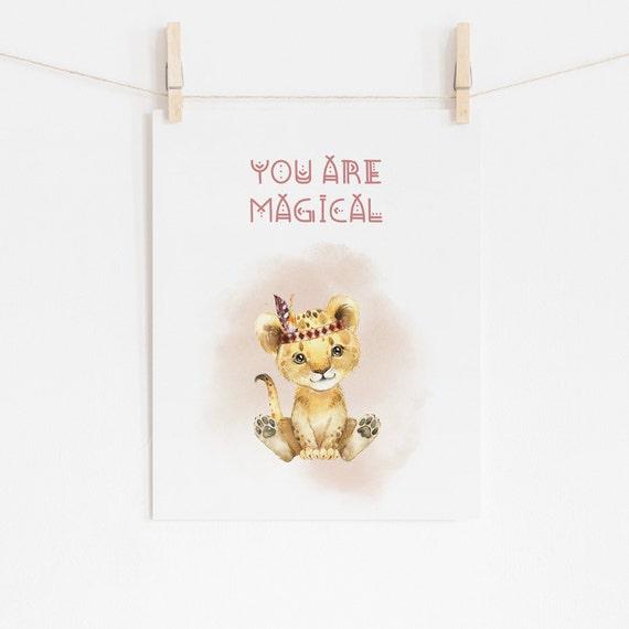 8 x 10 You Are Magical Tribal Tiger Cub Watercolor Animal Decor Print- Nursery Kids Room Baby Wall Art - DIGITAL DOWNLOAD