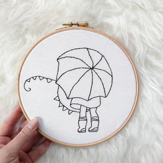 Umbrella Girl - Embroidery Wall Hoop Art - MADE TO ORDER - Nursery Kids Art- Monochrome
