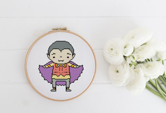 Halloween Kid Dracula Costume - Cross Stitch Pattern - Modern Cross Stitch - Childrens Decor Nursery - Instant Download - Home Decor