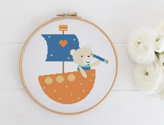 Bear Boat - Playful Animal Chart Cross Stitch Pattern - Modern Cross Stitch - Childrens Decor Nursery - Instant Download -