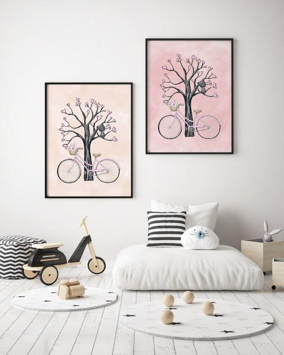 8 x 10 Bike and Cat Pink Set - Boho Nursery Decor Print Wall Art Watercolor Baby Girl Room Printable Decor