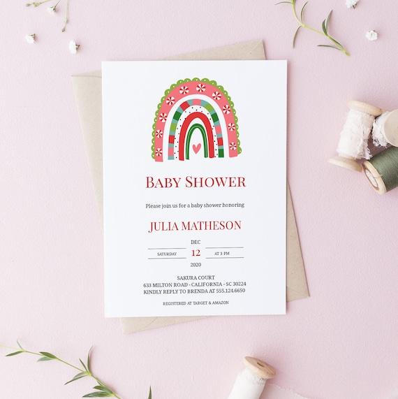 Christmas Rainbow Holidays 2 Baby Shower Invitation - Editable Template - 5 x 7 - Card - Editable Invitation Templett - Download DIY