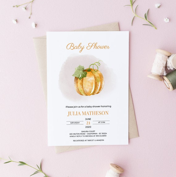 Modern Pumpkin Fall Baby Shower Invitation - Editable Template - 5 x 7 - Card - Editable Invitation Templett - Download DIY
