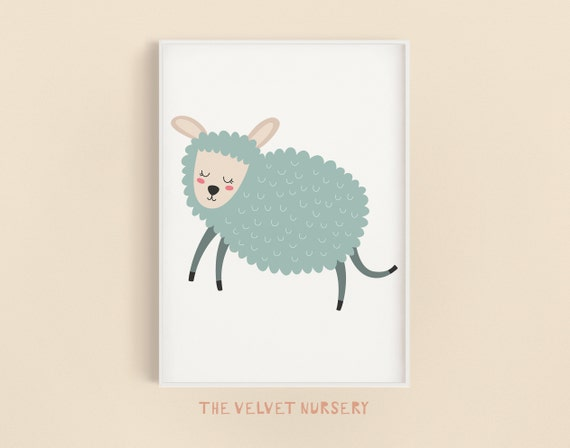 Happy Sheep - Nursery Print - Baby Girl / Boy Room - DIGITAL DOWNLOAD