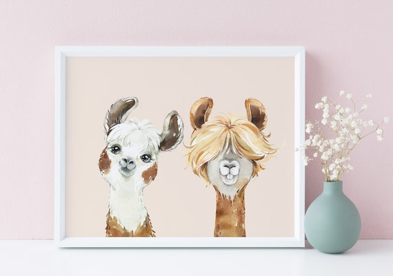 10 x 8 Llama Club LLamas Soft Yellow Animal Watercolor Print- Nursery Decor, Baby Wall Art Printable Decor - DIGITAL DOWNLOAD