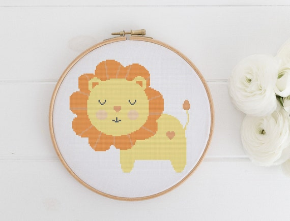 Young Lion - Safari Animal Chart Cross Stitch Pattern - Modern Cross Stitch - Childrens Decor Nursery - Instant Download -