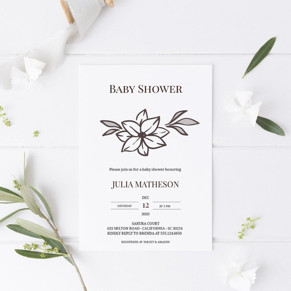 Modern Flower Botanical Monochrome Baby Shower Invitation - Editable Template - 5 x 7 - Card - Editable Invitation Templett - Download DIY