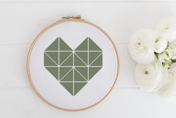Modern Heart - Fern Green - Cross Stitch Pattern - Modern Cross Stitch - Instant Download -