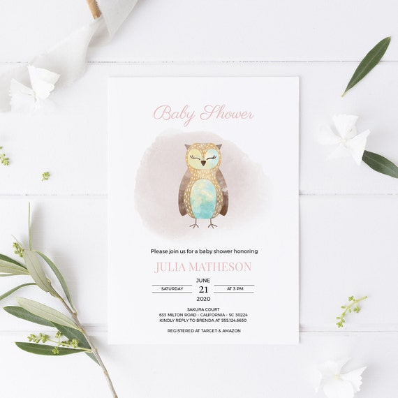 Watercolor Owl Bird Baby Shower Invitation - Editable Template - 5 x 7 - Card - Editable Invitation Templett - Download DIY