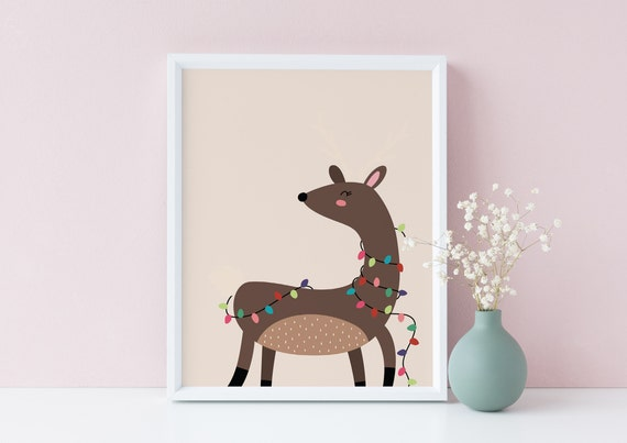 8 x 10 Festive Deer Reindeer Christmas X-Mas Decor Print- Nursery Kids Room Baby Wall Art - DIGITAL DOWNLOAD